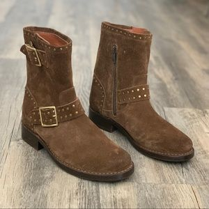 Frye Brown Leather Suede Gold Buckle Stud Boot 5.5